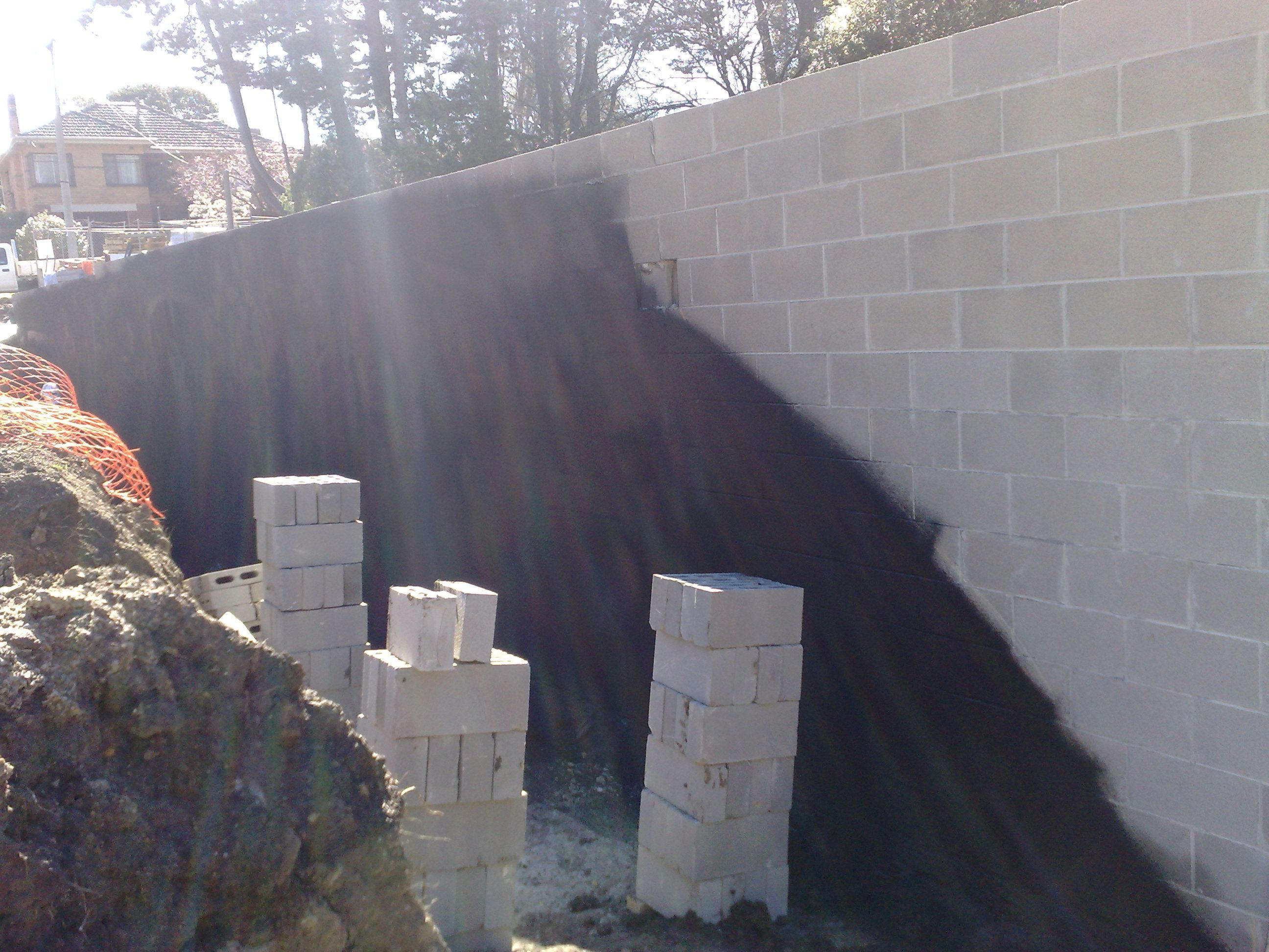 Block Retaining Wall Waterproofing : Waterproof coatings below ground tanking basements foundations