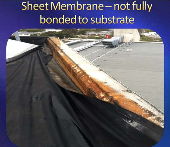 Sheet membrane lacks full adhesion to concrete roof surface